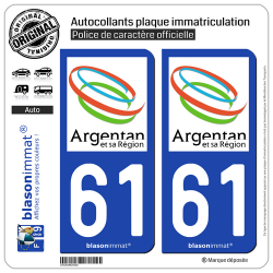 2 Autocollants plaque immatriculation Auto 61 Argentan - Agglo