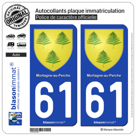 2 Autocollants plaque immatriculation Auto 61 Mortagne-au-Perche - Armoiries