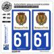 2 Autocollants plaque immatriculation Auto 61 Mortagne-au-Perche - Commune