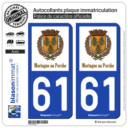 2 Autocollants plaque immatriculation Auto 61 Mortagne-au-Perche - Commune