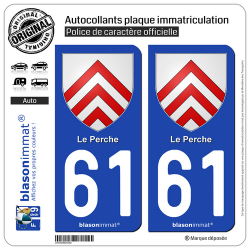 2 Autocollants plaque immatriculation Auto 61 Le Perche - Armoiries