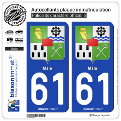 2 Autocollants plaque immatriculation Auto 61 Mâle - Armoiries