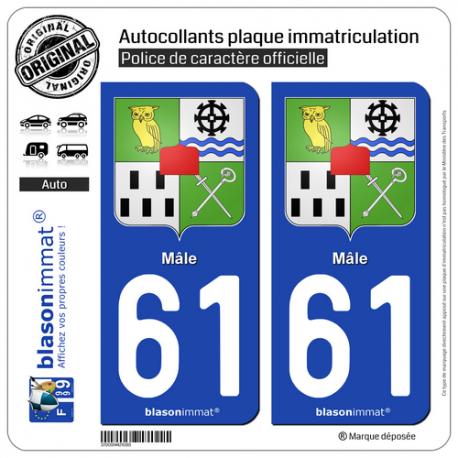 2 Autocollants plaque immatriculation Auto 61 Mâle - Armoiries