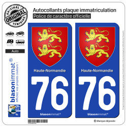2 Autocollants plaque immatriculation Auto 76 Haute-Normandie - Armoiries