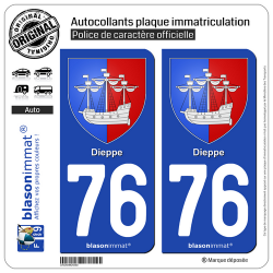 2 Autocollants plaque immatriculation Auto 76 Dieppe - Armoiries