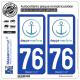 2 Autocollants plaque immatriculation Auto 76 Dieppe - Tourisme