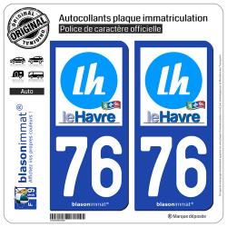 2 Autocollants plaque immatriculation Auto 76 Le Havre - Ville