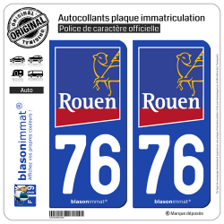 2 Autocollants plaque immatriculation Auto 76 Rouen - Ville