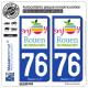 2 Autocollants plaque immatriculation Auto 76 Rouen - Tourisme