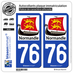 2 Autocollants plaque immatriculation Auto 76 Normandie - Drakkar
