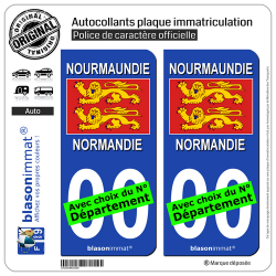 2 Autocollants plaque immatriculation Auto Normandie - Drapeau