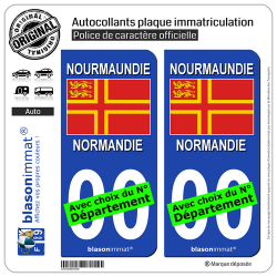 2 Autocollants plaque immatriculation Auto Normandie - Croix de Saint Olaf II