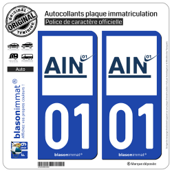 2 Autocollants plaque immatriculation Auto 01 Ain - Département