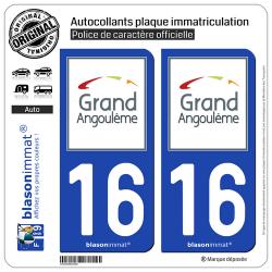 2 Autocollants plaque immatriculation Auto 16 Angoulême - Agglo