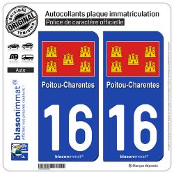 2 Autocollants plaque immatriculation Auto 16 Poitou-Charentes - Drapeau