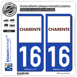 2 Autocollants plaque immatriculation Auto 16 Charente - Département