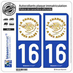 2 Autocollants plaque immatriculation Auto 16 Charente - Label
