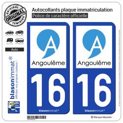 2 Autocollants plaque immatriculation Auto 16 Angoulême - Ville