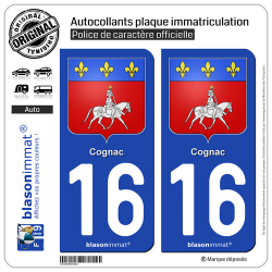 2 Autocollants plaque immatriculation Auto 16 Cognac - Armoiries