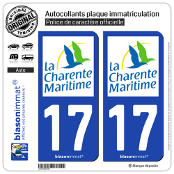 2 Autocollants plaque immatriculation Auto 17 Charente-Maritime - Département