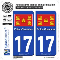 2 Autocollants plaque immatriculation Auto 17 Poitou-Charentes - Drapeau