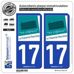 2 Autocollants plaque immatriculation Auto 17 Charente-Maritime - Tourisme