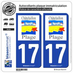 2 Autocollants plaque immatriculation Auto 17 Châtelaillon-Plage - Commune