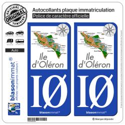 2 Autocollants plaque immatriculation Auto IØ Île d'Oléron - Aperçu Général