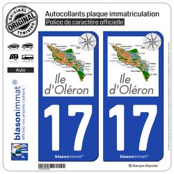 2 Autocollants plaque immatriculation Auto 17 Île d'Oléron - Aperçu Général