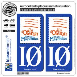 2 Autocollants plaque immatriculation Auto IØ Île d'Oléron - Bassin de Marennes