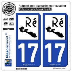 2 Autocollants plaque immatriculation Auto 17 Île de Ré - Ré