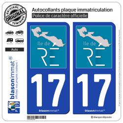 2 Autocollants plaque immatriculation Auto 17 Île de Ré - Tourisme
