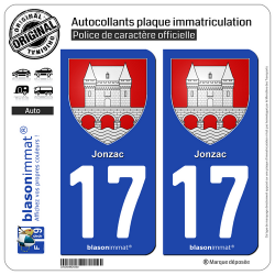 2 Autocollants plaque immatriculation Auto 17 Jonzac - Armoiries