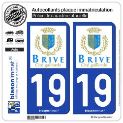 2 Autocollants plaque immatriculation Auto 19 Brive-la-Gaillarde - Ville