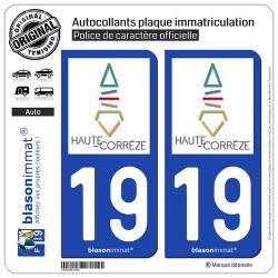 2 Autocollants plaque immatriculation Auto 19 Haute-Corrèze - Pays