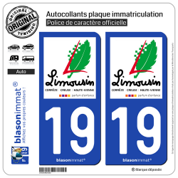 2 Autocollants plaque immatriculation Auto 19 Limousin - Tourisme
