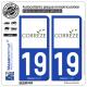 2 Autocollants plaque immatriculation Auto 19 Corrèze - Département