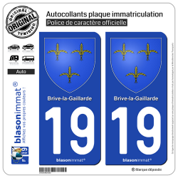 2 Autocollants plaque immatriculation Auto 19 Brive-la-Gaillarde - Armoiries
