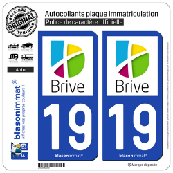 2 Autocollants plaque immatriculation Auto 19 Brive-la-Gaillarde - Agglo