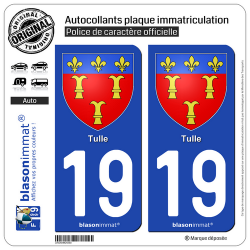 2 Autocollants plaque immatriculation Auto 19 Tulle - Armoiries
