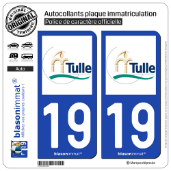 2 Autocollants plaque immatriculation Auto 19 Tulle - Ville