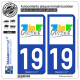 2 Autocollants plaque immatriculation Auto 19 Ussel - Ville