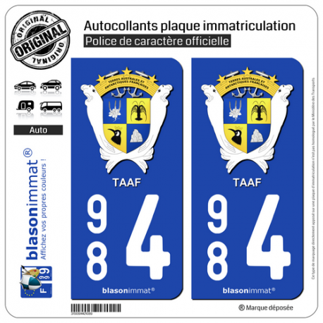 2 Autocollants plaque immatriculation Auto 984 TAAF - Armoiries