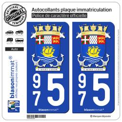 2 Autocollants immatriculation Auto 975 Saint-Pierre et Miquelon - Armoiries