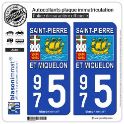 2 Autocollants immatriculation Auto 975 Saint-Pierre et Miquelon - Drapeau