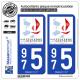 2 Autocollants immatriculation Auto 975 Saint-Pierre et Miquelon - Tourisme