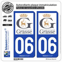 2 Autocollants plaque immatriculation Auto 06 Grasse - Ville
