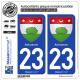 2 Autocollants plaque immatriculation Auto 23 Aubusson - Armoiries