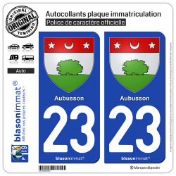 2 Autocollants plaque immatriculation Auto 23 Aubusson - Armoiries