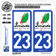 2 Autocollants plaque immatriculation Auto 23 Limousin - Tourisme